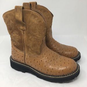 Ariat Fat Baby Ostrich Print Cognac Cowgirl Boots
